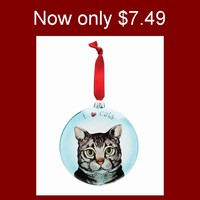 Sale!!  Dog and Cat Glass Ornaments