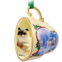 Cat Tea Cup Christmas Ornaments