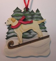 Tobogganing Dog Christmas Ornaments