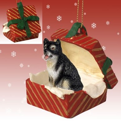 Raining Cats and Dogs | Alaskan Malamute Gift Box Christmas Ornament