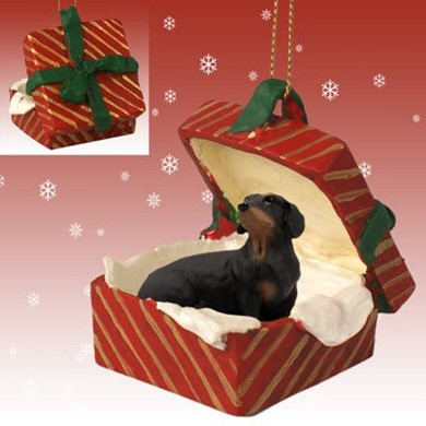 Raining Cats and Dogs | Dachshund Gift Box Christmas Ornament