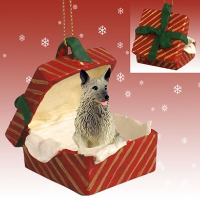 Raining Cats and Dogs | Norwegian Elkhound Gift Box Christmas Ornament
