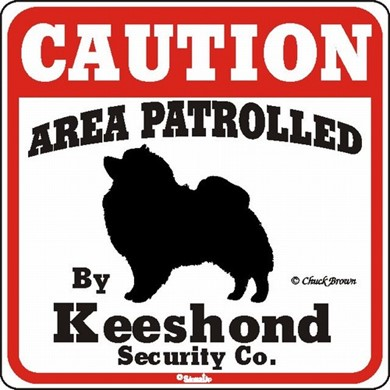 Raining Cats and Dogs | Keeshond Caution Sign