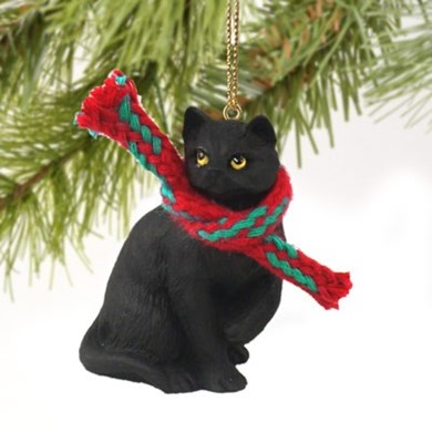 Raining Cats And Dogs Black Cat Christmas Ornament