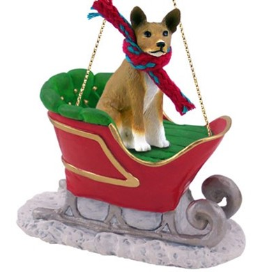 Raining Cats and Dogs | Basenji Christmas Ornament with Sleigh