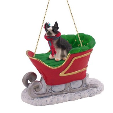 Raining Cats and Dogs | Boston Terrier Christmas Ornament with Sleigh