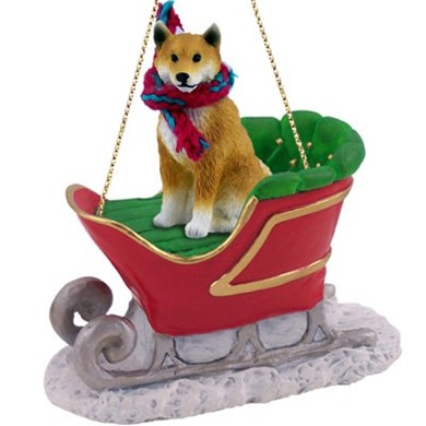 Raining Cats and Dogs | Shiba Inu Sleigh Christmas Ornament