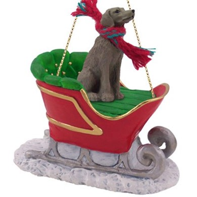 Raining Cats and Dogs | Weimaraner Sleigh Christmas Ornament
