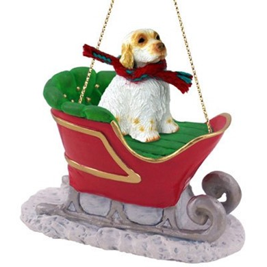 Raining Cats and Dogs | Clumber Spaniel Sleigh Christmas Ornament