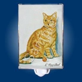 Raining Cats and Dogs | Red Tabby Cat Night Light