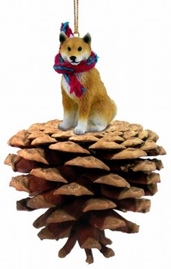 Raining Cats and Dogs | Pine Cone Shiba Inu Dog Christmas Ornament