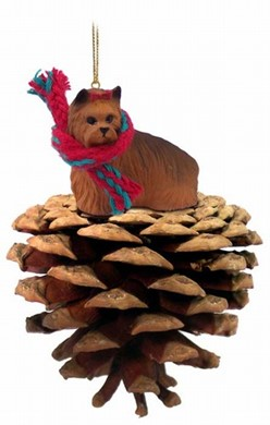 Raining Cats and Dogs | Pine Cone Yorkshire Terrier Dog Christmas Ornament