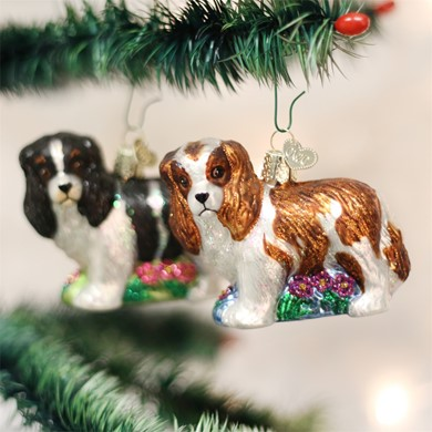 Raining Cats and Dogs | King Charles Vintage Dog Christmas Ornament
