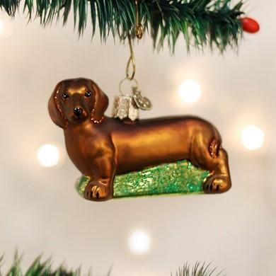 Raining Cats and Dogs | Dachshund Vintage Dog Christmas Ornament