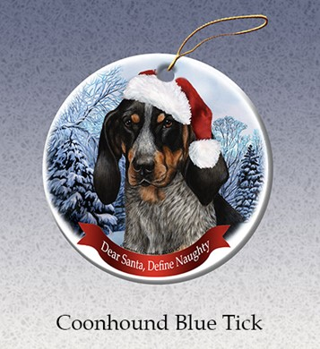Raining Cats and Dogs | Bluetick Coonhound  Dear Santa Dog Christmas Ornament