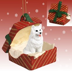 American Eskimo Gift Box Christmas Ornament