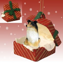 Collie Gift Box Christmas Ornament