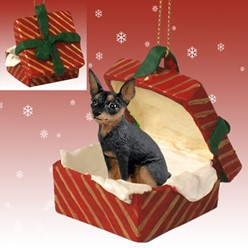Miniature Pinscher Gift Box Christmas Ornament