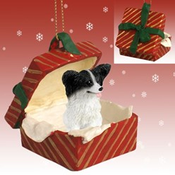Papillon Gift Box Christmas Ornament