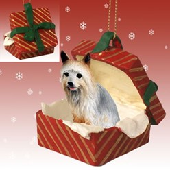 Silky Terrier Gift Box Christmas Ornament