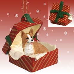 Welsh Corgi Pembroke Gift Box Christmas Ornament