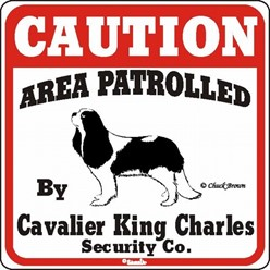 Cavalier King Charles Caution Sign, a Fun Dog Warning Sign