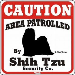 Shih Tzu Caution Sign, a Fun Dog Warning Sign
