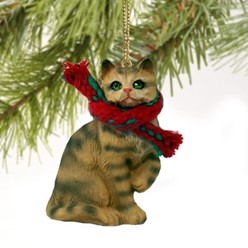 Brown Tabby Cat Christmas Ornament