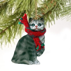 Silver Tabby Cat Christmas Ornament