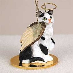 Black and White Cat Angel Ornament
