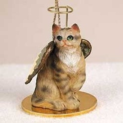 Brown Tabby Cat Angel Ornament
