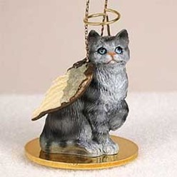 Silver Tabby Cat Angel Ornament