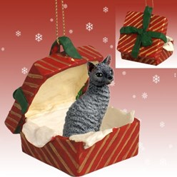 Cornish Rex Cat Gift Box Christmas Ornament