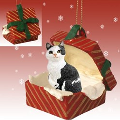 Manx Cat Gift Box Christmas Ornament