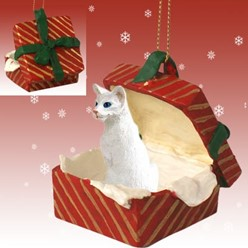 Oriental Shorthaired Cat Gift Box Christmas Ornament