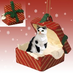 Black and White Cat Gift Box Christmas Ornament