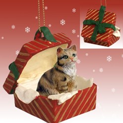 Brown Tabby Cat Gift Box Christmas Ornament