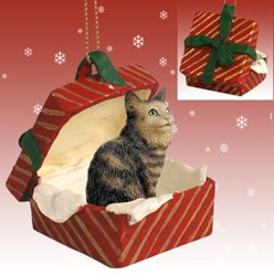 Maine Coon Cat Gift Box Christmas Ornament