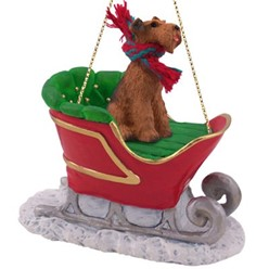 Airedale Christmas Ornament with Sleigh