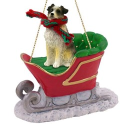 Australian Shepherd Christmas Ornament with Sleigh
