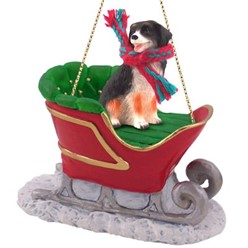 Bernese Mountain Dog Christmas Ornament with Sleigh