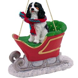 Cavalier King Charles Sleigh Christmas Ornament