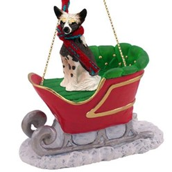 Chinese Crested Sleigh Christmas Ornament