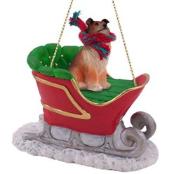 Collie Sleigh Christmas Ornament