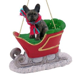 French Bulldog Sleigh Christmas Ornament