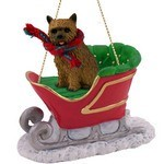 Norwich Terrier Sleigh Christmas Ornament