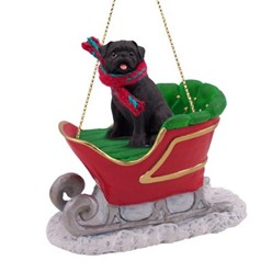 Pug Sleigh Christmas Ornament