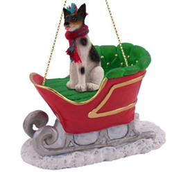 Rat Terrier Sleigh Christmas Ornament