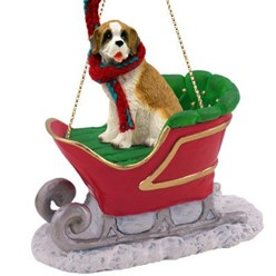 Saint Bernard Sleigh Christmas Ornament