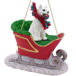 Samoyed Sleigh Christmas Ornament